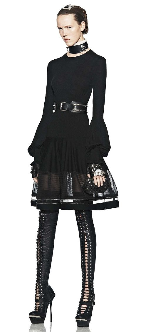 Black Alexander McQueen Bell Sleeve Wool Dress.