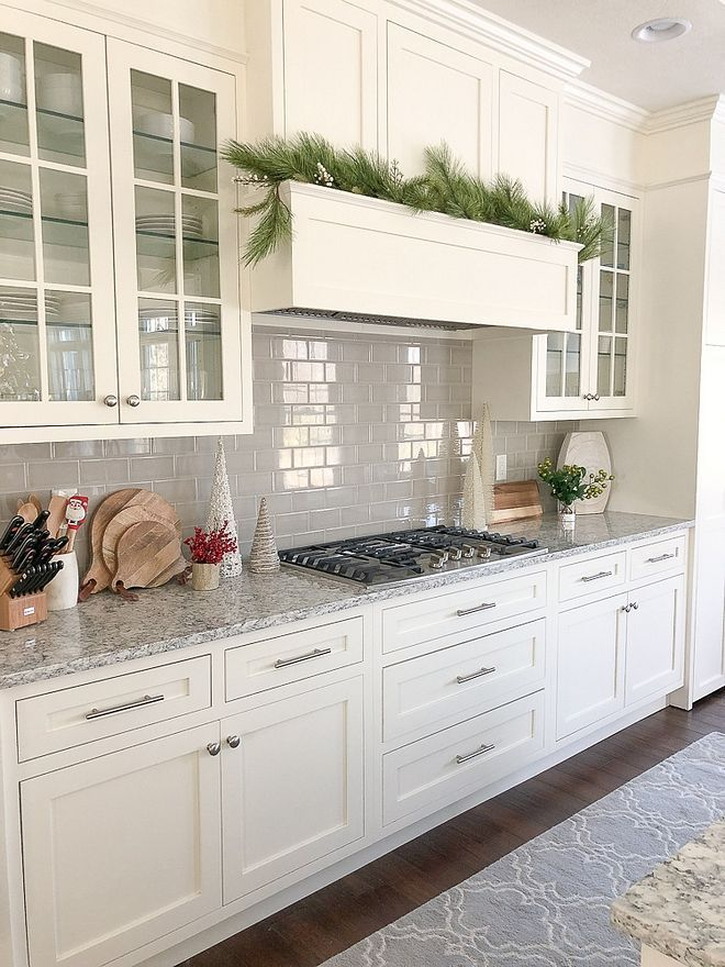 Off white kitchen painted in White Dove by Benjamin Moore ...