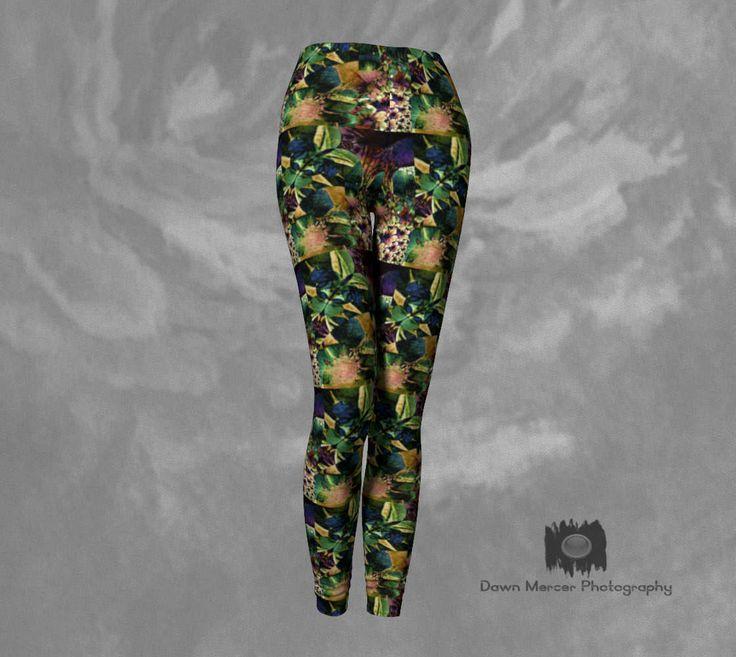 Art Floral Leggings Unique Leggings Athletic Yoga Pants Floral Print Tights Leggings For ladies Printed Womens Leggings Artsy Activewear by DawnMercerPhoto on Etsy