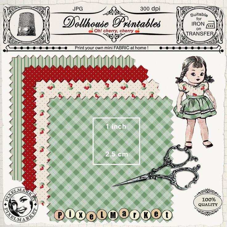 Dollhouse MINIATURE Print at home FABRIC Vintage cherry