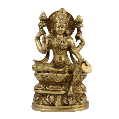 Amazon.com: Lakshmi Idol Goddess Hinduism Belief Statue And Sculpture; Brass; 4.75 X 2.5 X 8 Inches: Home & Kitchen