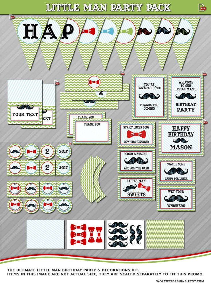 Little Man Birthday Party Decorations Printable, Mustache Party Decorations, Little Man Cupcake Toppers, Mustache Party Signs, Table Tents by WolcottDesigns on Etsy