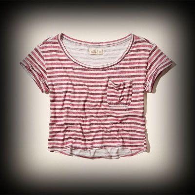 Hollister レディース Tシャツ ホリスター Tamarack T-Shirt Tシャツ★ヴィンテージウォッシュがコーディネイトしやすくて個性的な古着っぽい味がでてお洒落na Tシャツ。 ★シンプルなデザインで色んな着回しがしやすいアイテム◎細いストライプ柄がかわいい。