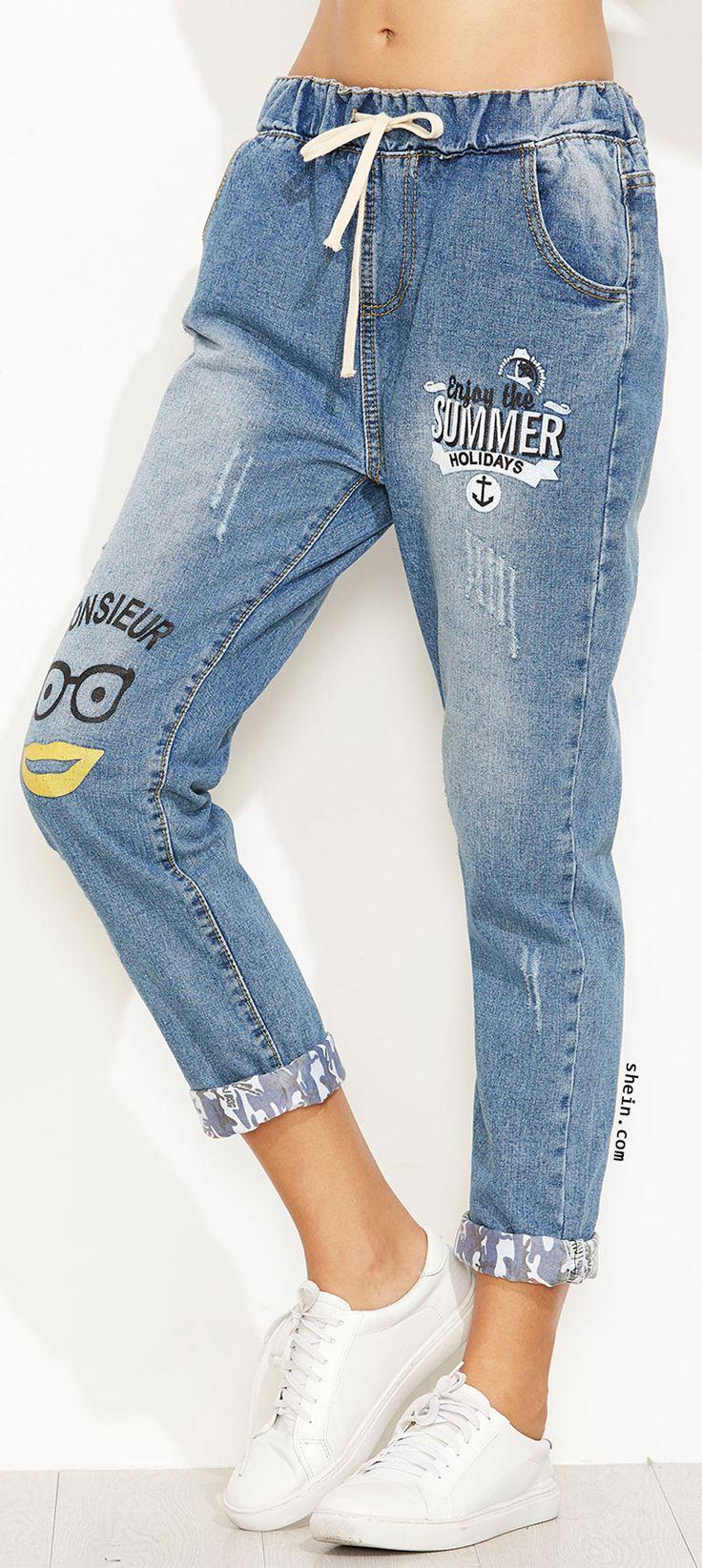Blue Letter Print Drawstring Waist Cuffed Jeans