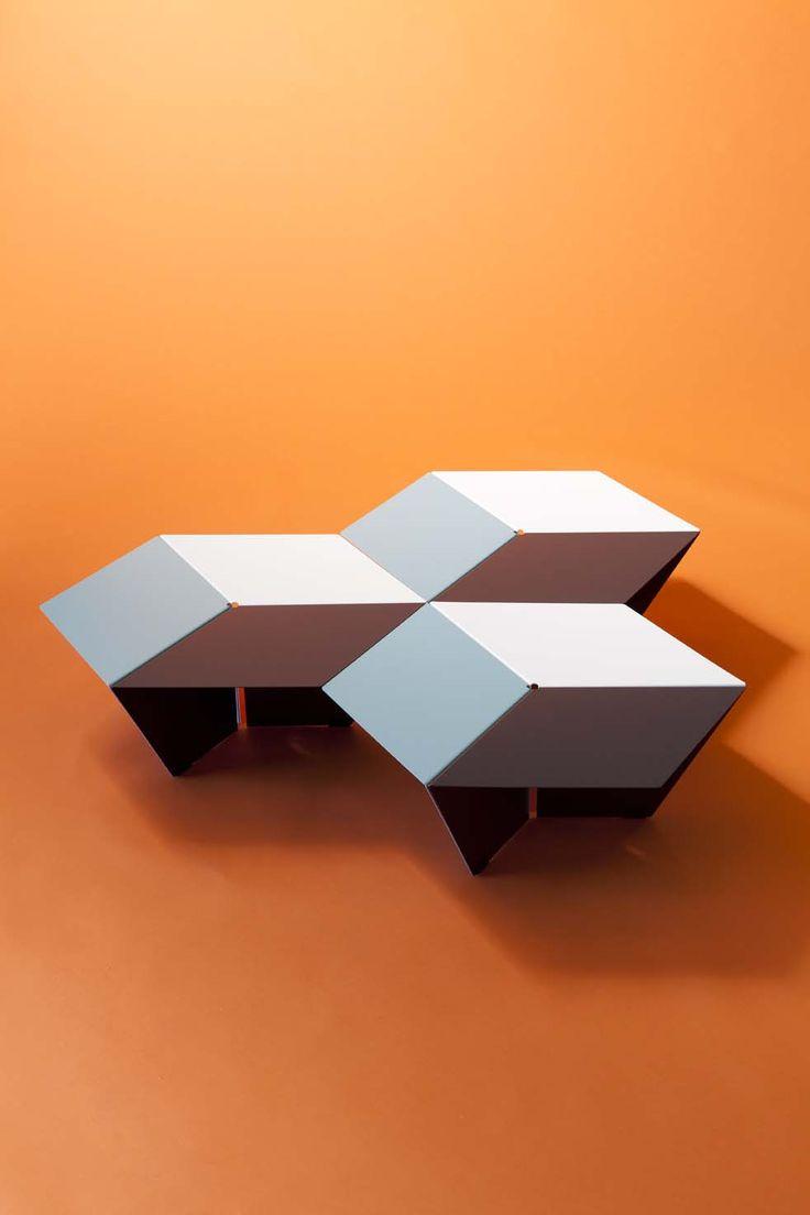 Tables basses KUBAN, design Luc Jozancy, Matiere Grise. #blanc #anthracite #celadon #mobilier #metal #acier #indoor #design #low table #3Deffect #matieregrise #creditphoto #pierrickverny