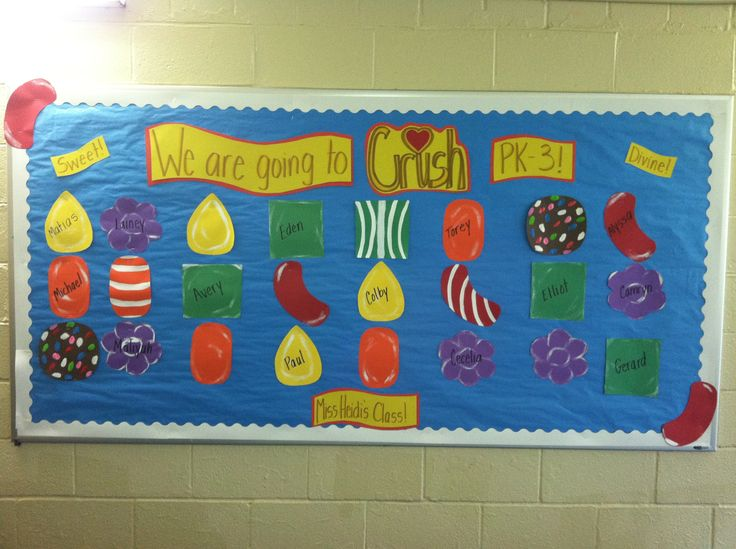 Candy crush back to school bulletin board!!