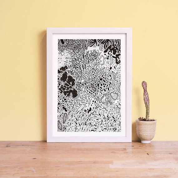Black and White Coral — Art Giclee Print — Nat Carroll
