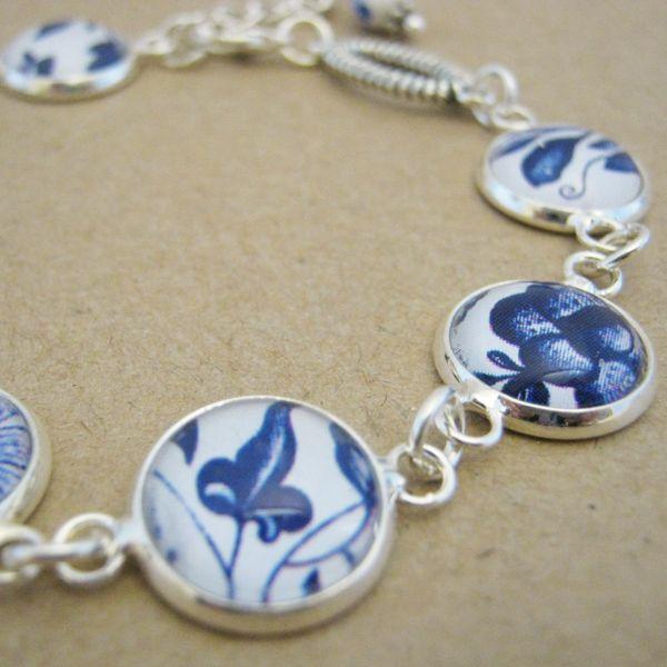 Blue & White Glass Tile bracelet On A Whim Designs