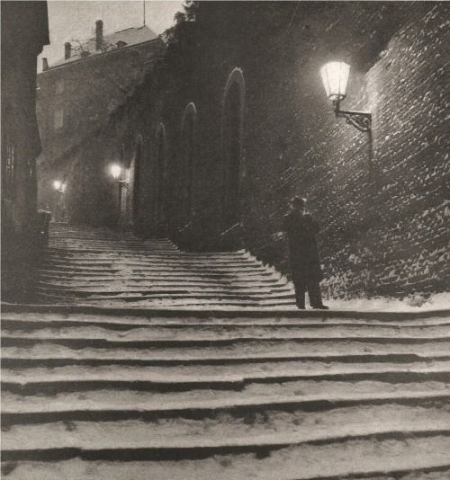 Prague, Castle Stairs by J.Illik, 50's