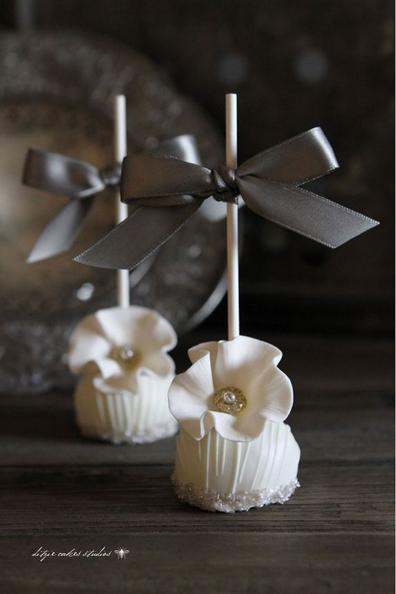 Elegant White Pearl Accented Wedding Cake Pops