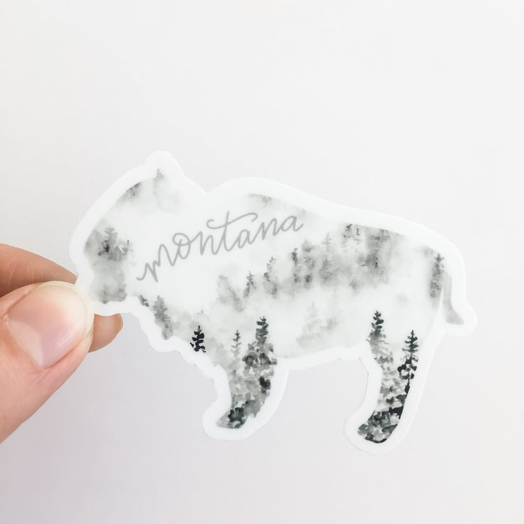 Black Forest Bison vinyl sticker RV car laptop home state water bottle map gift Montana State DECAL
