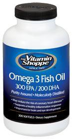 the Vitamin Shoppe Omega 3 Fish Oil 300 Epa / 200 Dha 1000 MG, 300.0 Each , Softgels