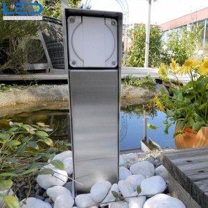 Gartensteckdose IP65, Steckdosensockel für Ihren Garten, Aussensteckdose aus Edelstahl, Swissmade