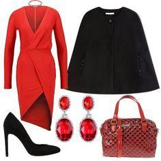Outfit ideale per una cerimonia d'autunno. Abito rosso rubino impreziosito dagli orecchini pendenti e dalla borsa in tessuto verniciato Armani. Morbida mantella e décolleté neri.