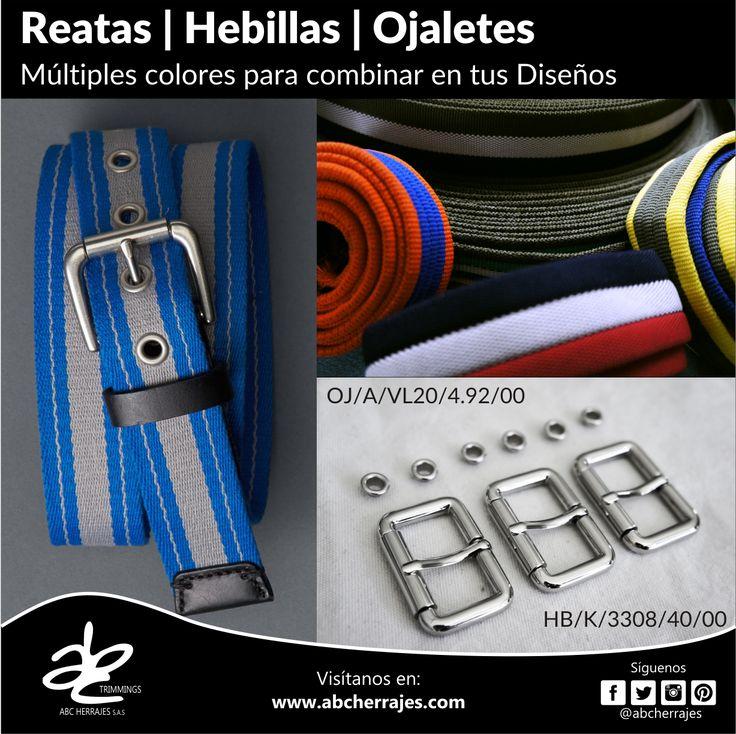 #Reatas, #Hebillas, #Ojaletes. Múltiples #Colores para combinar en tus #Diseños. #ABCHerrajes #Herrajes #Moda #Cinturones #Accesorios Nos puedes encontrar en:  #Bogota: Calle 74A # 23-25 / Tel: 2115117  #Medellin: Diagonal 74B # 32-133 / Tel: 3412383  #Barranquilla: Cra. 52 # 72-114 C.C. Plaza 52 / Tel: 3690687 Visítanos en: www.abcherrajes.com
