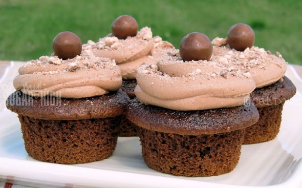 WHOPPERS Chocolate Malt Cupcakes with Malt Buttercream