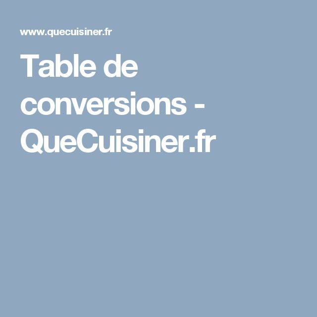 Table de conversions - QueCuisiner.fr