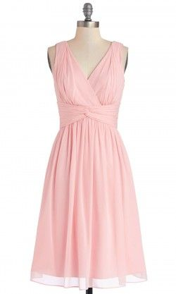 Pink V-neck Pleated Knee Length Bridesmaid Dresses TBQP257