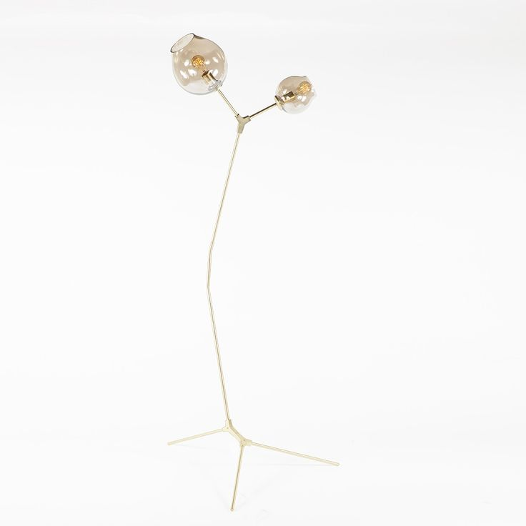 Branching Floor Lamp With Two Globes   Gold