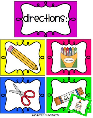 A Cupcake for the Teacher: Classroom Labels Starter Kit! and Picture Directions {Freebie}...now I won't have to try and draw these things any more!