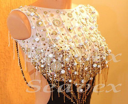 L2399 Bead Fringes Latin Ramba Samba Cha Cha US 6 dance Dress Multi-Color
