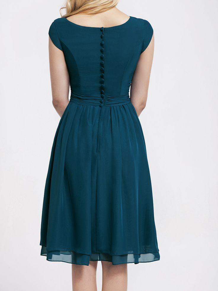 Winter Color Bridesmaid Dresses | Cap Sleeve Chiffon Vintage Bridesmaid Dress; Color: Winter Teal; Sizes ...