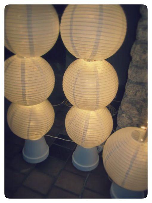 DIY light-columns with paper lanterns