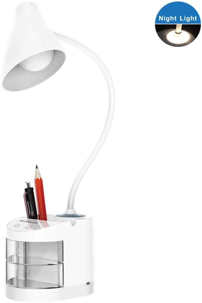 Gerintech Rechargeable Desk Lamp With Organizer Phone Holder Night Light Table Lamp For Dorm Room Study Desk 2200mah B Lamp Desk Lamp Color Changing Lights
