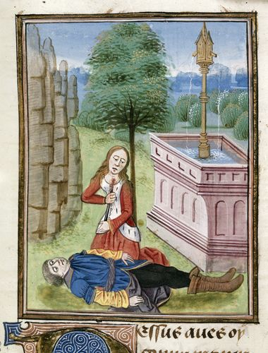 "Pyramus and Thisbe from Metamorphoses, second anonymous French translation (Ovide moralisé). Made in Netherlands, last quarter of 15th Century.Royal 17 E IV f. 55 This painting represents the iconic scene from the story of Pyramus and Thisbe, made iconic from Shakespeare's ""Romeo and Juliet"". The love between them was so strong it drove them to commit suicide. Their lives could no longer go on without the other by their side."