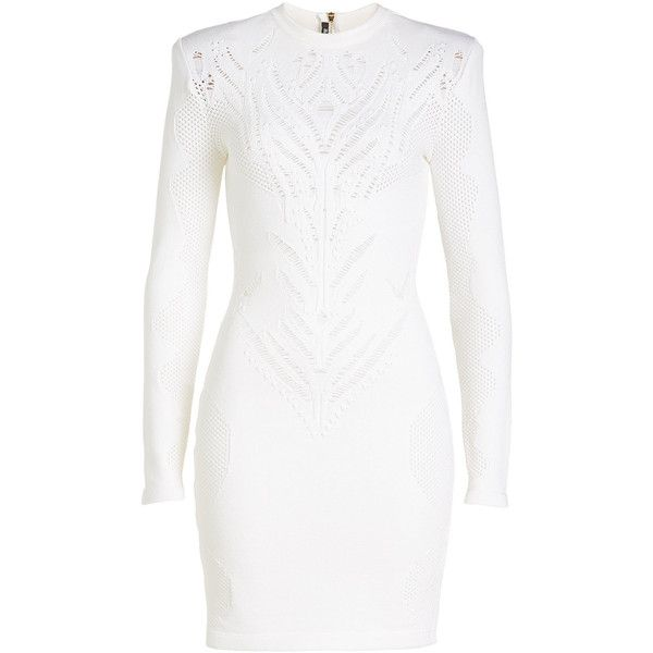 5b533b063 Balmain Mini Dress (£1,335) ❤ liked on Polyvore featuring dresses, white,  ripped dresses, short dresses, white day dress, white colour dress and long  ...