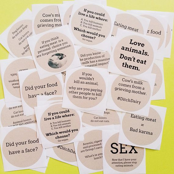 Variety pack 50 vegan activism stickers