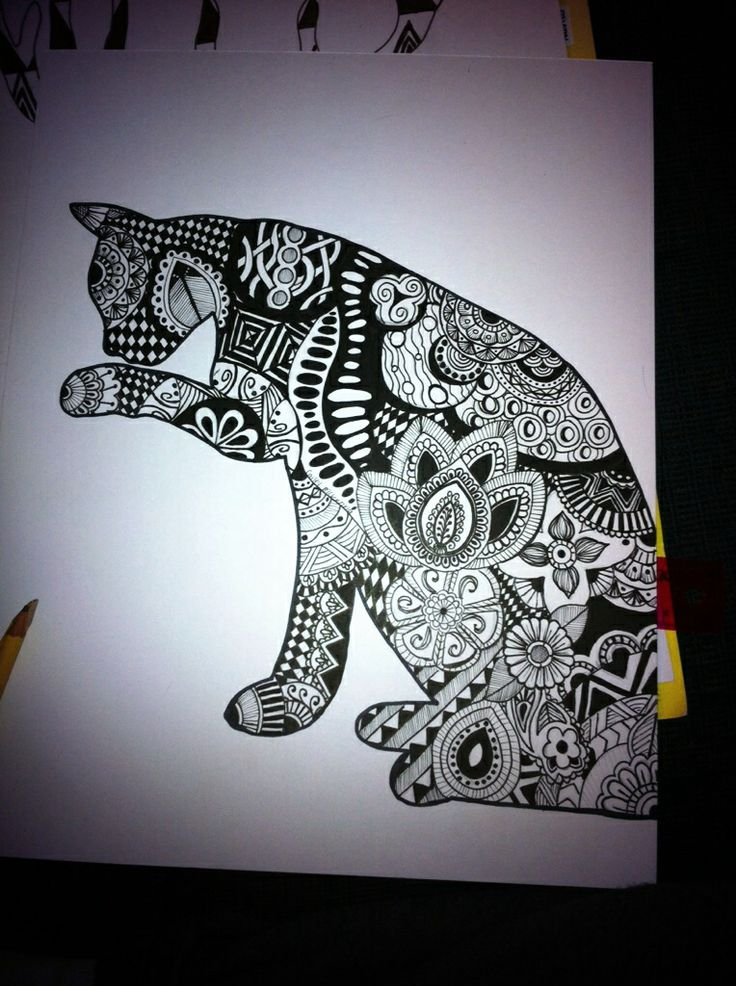 Cat Zentange Sharpie Art Original Pinterest