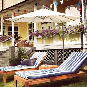 Pair Of Ikea Laro Chaises With Cushions And Umbrella Backyard Paradise Home Design Ours In 2018 Pinterest Outdoor