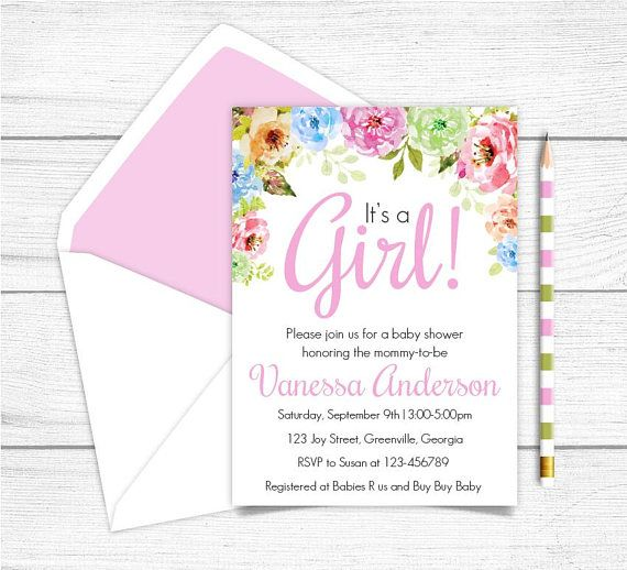 Printable Girl Floral Baby Shower Invitation Printable Shabby