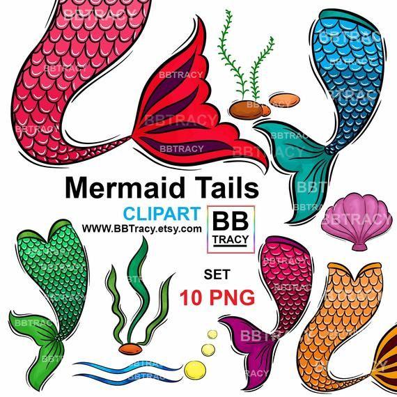 Mermaid Clipart Mermaid Clip Art Mermaid Tails Clipart Mermaid Tail Png Files Png Commercial Use Shell Wa Clip Art Kids Tshirt Designs Watercolor Mermaid