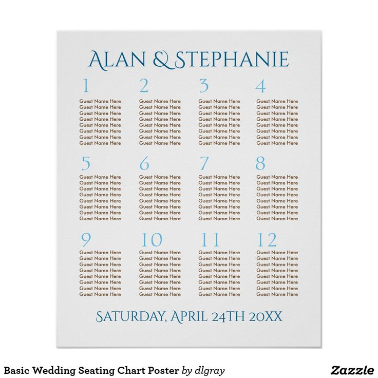 """Basic Wedding Seating Chart Poster Text in blue and brown is completely customizable as per color, font and size. This basic seating chart for 12 tables of 8 guests can be modified as needed. You can fill in the names at each tables by typing the names in the text boxes. Tables can be removed or changed by using the """"Customize It"""" feature. If you need assistance with customizing, please contact me."""