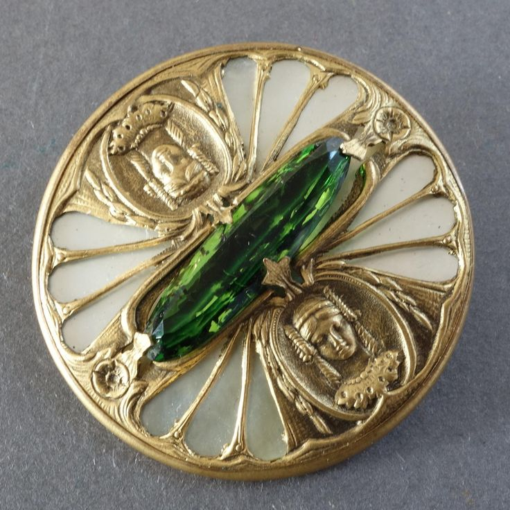 Large Antique Gay Nineties Mother of Pearl Paste Metal Button: size 1 11/16; France or Bohemia, end of 19th century; gilt openwork stamped metal with