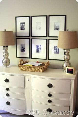 """inexpensive """"gallery"""" frames using dollar tree frames and posterboard as mats for about 10 bucks total."""