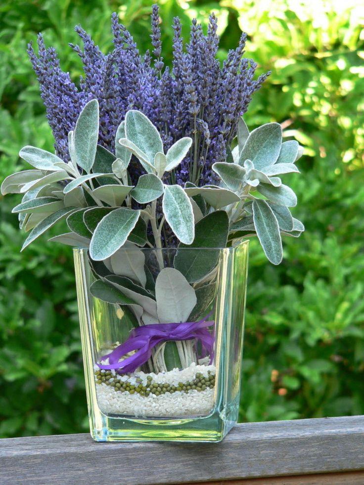 Fresh lavender from a U-pick farm, Brachyglottis greyi (aka Senecio greyi), rice, dried mung beans. Floral arrangement idea