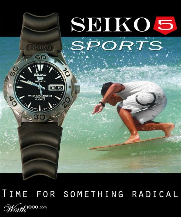 This image is designed for middle class people and above, it uses sea as a background to indicate that it is a sport watch. The man in the background who wore the same watch seems to enjoy his time. This would enourage more people to buy the watch as they see the quality is high and it is also water proof. The large picture of the watch on the left shows the importance of the watch. Unlike other adverts, this advert has no slogan. This shows that the company has it's confidence on the…