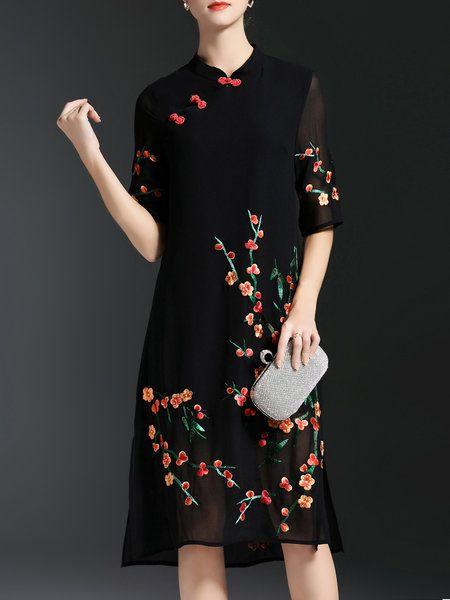 Shop Midi Dresses - Vintage Half Sleeve A-line Polyester Midi Dress online. Discover unique designers fashion at StyleWe.com.