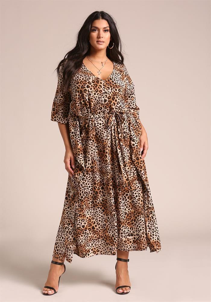 Plus Size Clothing | Plus Size Leopard Print Caftan Maxi ...
