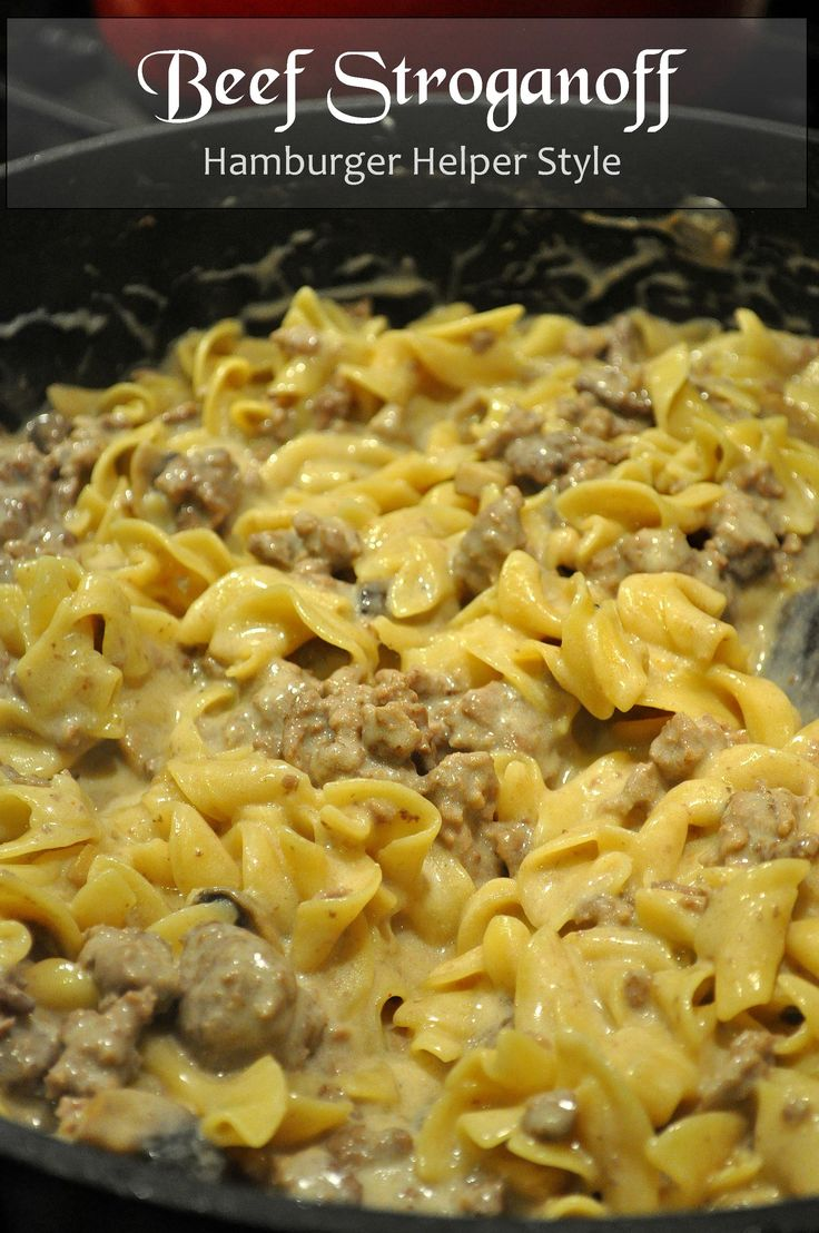 This is my go to recipe.  Family loves it!  Stroganoff - Hamburger Helper Style  I substituted with turkey & used bow tie pasta. It turned out delicious.  I have also used egg noodles too.