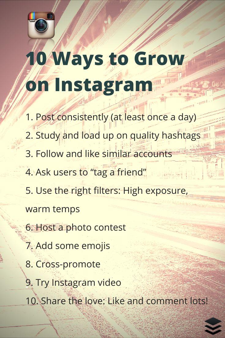Top 10 Proven Tactics to Grow Followers onInstagram   https://blog.bufferapp.com/instagram-growth?utm_content=buffer2b48d&utm_medium=social&utm_source=pinterest.com&utm_campaign=buffer viaBufferr