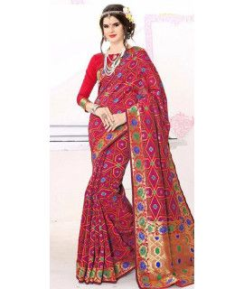 Fancy Red Silk Saree With Blouse.