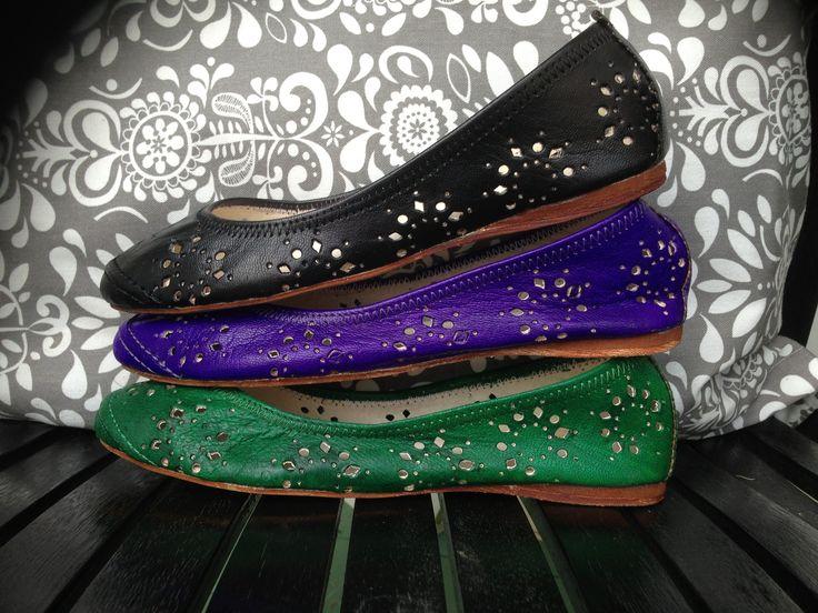 Marrakech Flats #handmade #leather #purple #green #black #one1earth www.one1earth.com