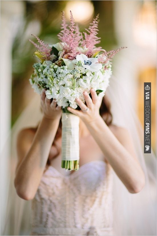 white and pink wedding bouquet by Blooming Flowers and Gifts | VIA #WEDDINGPINS.NET