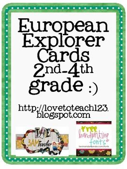 Freebie. Fve European Explorer printable information cards for your students to use and study from (John Cabot, Giovanni da Verazano, Jacques Cartier, Samuel de Champlain, and Henry Hudson)