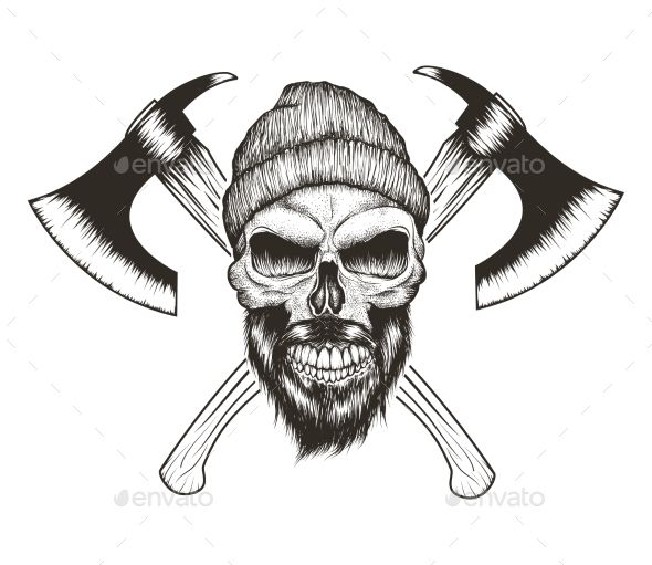 Skull Lumberjack with Beard and Two Axes — JPG Image #beard #illustration • Available here → https://graphicriver.net/item/skull-lumberjack-with-beard-and-two-axes/18396396?ref=pxcr