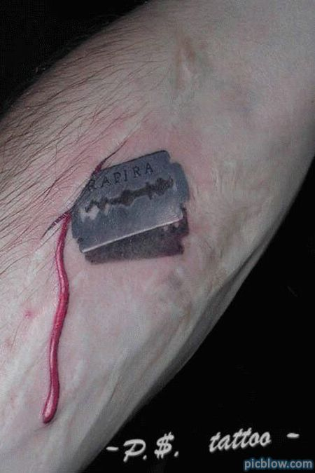 3D tattoo, its kinda disgusting.  I would never get this tatted on my body but I find this extremely cool!